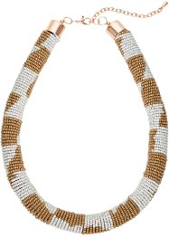 Collier con perle colorate, bpc bonprix collection, Marrone chiaro / crema / color oro