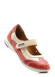 Ballerina in pelle, bpc selection, Rosso / bianco panna