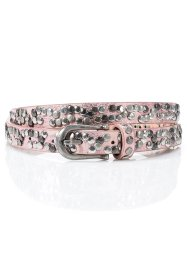 Cintura sottile con borchiette, bpc bonprix collection, Rosa metallizzato