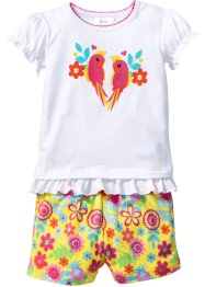 T-shirt + shorts in cotone biologico (set 2 pezzi), bpc bonprix collection, Bianco / giallo