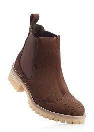 Stivaletto Chelsea in pelle, bpc bonprix collection, Marrone scuro