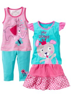 Top + t-shirt + gonna + pinocchietto (setz 4 pezzi), bpc bonprix collection, Fucsia / acqua
