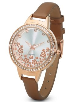 Orologio con fiorellini e strass, bpc bonprix collection, Color oro rosato a fiori