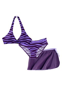 Bikini + gonna (set 3 pezzi), bpc bonprix collection, Prugna / viola chiaro zebrato