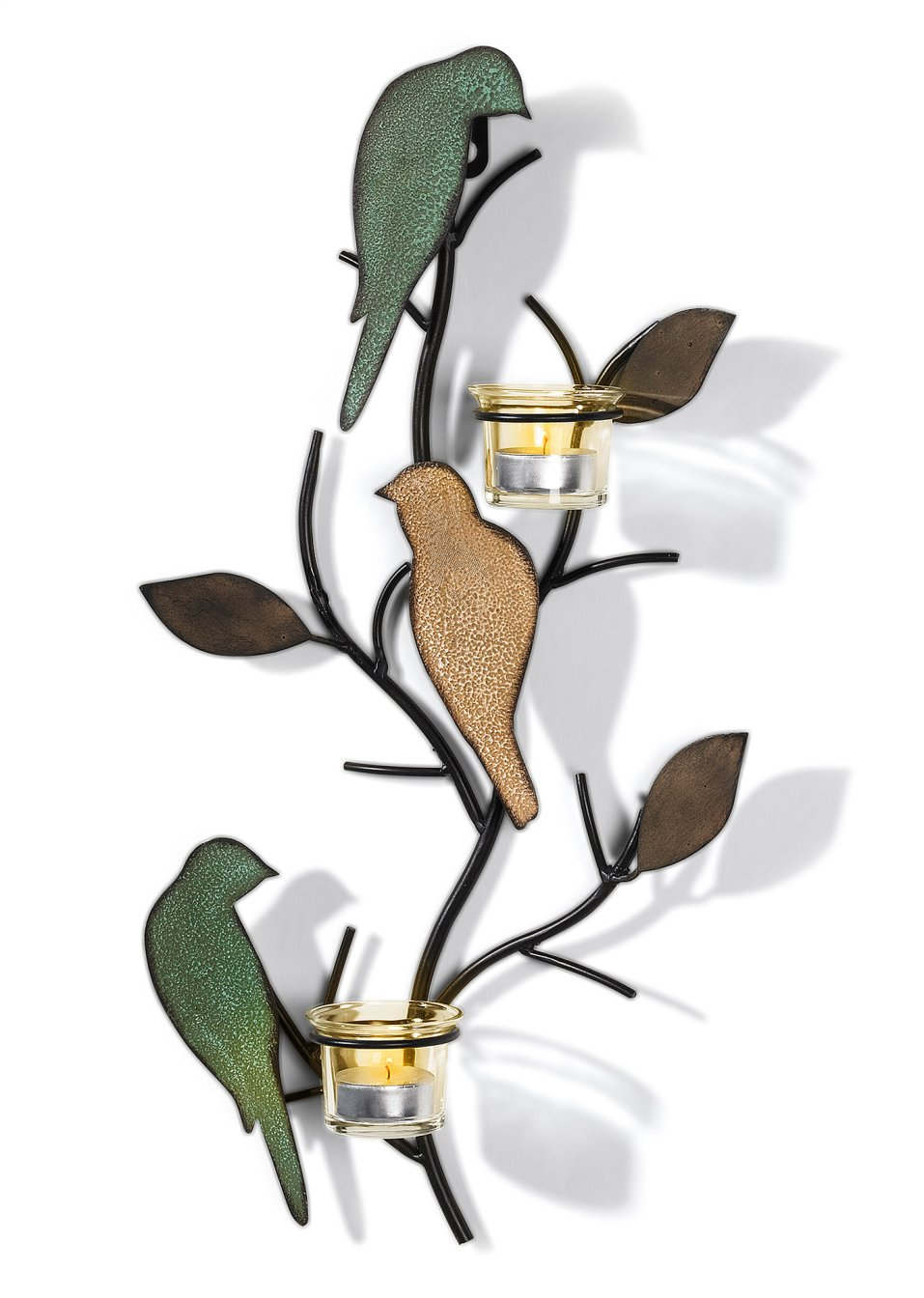 Portacandele da parete uccelli petrolio verde chiaro - Portacandele da parete ...