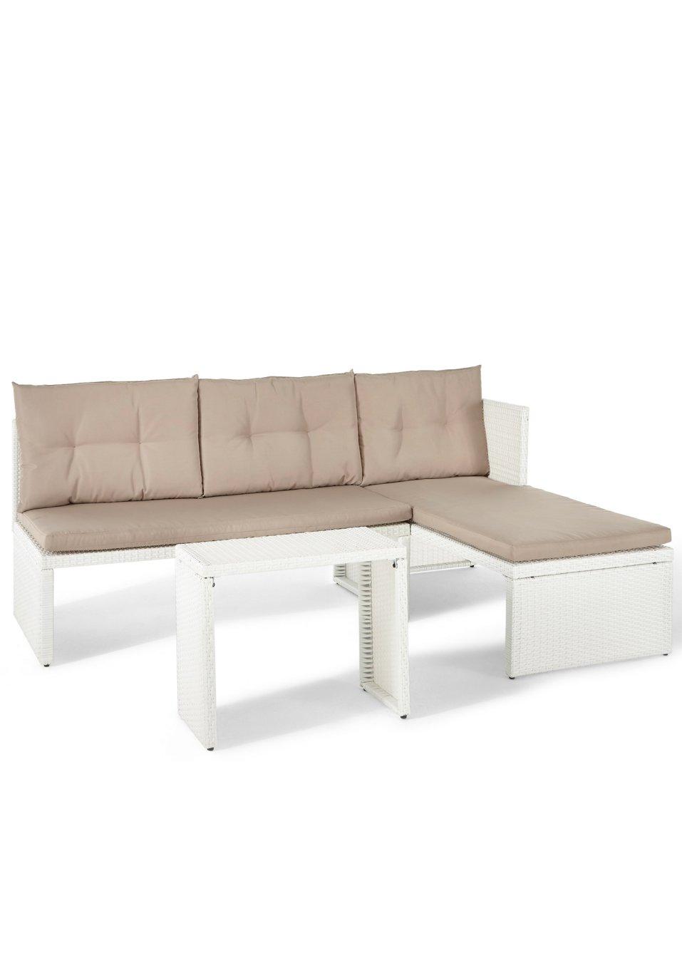 Mobili per balcone «Rhodos» (set 3 pezzi) Bianco/beige - Casa ...