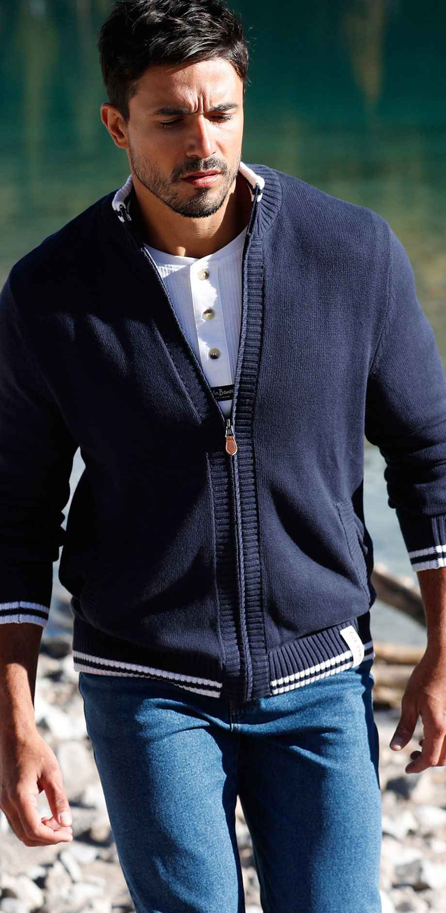 Uomo - Cardigan regular fit - Blu scuro