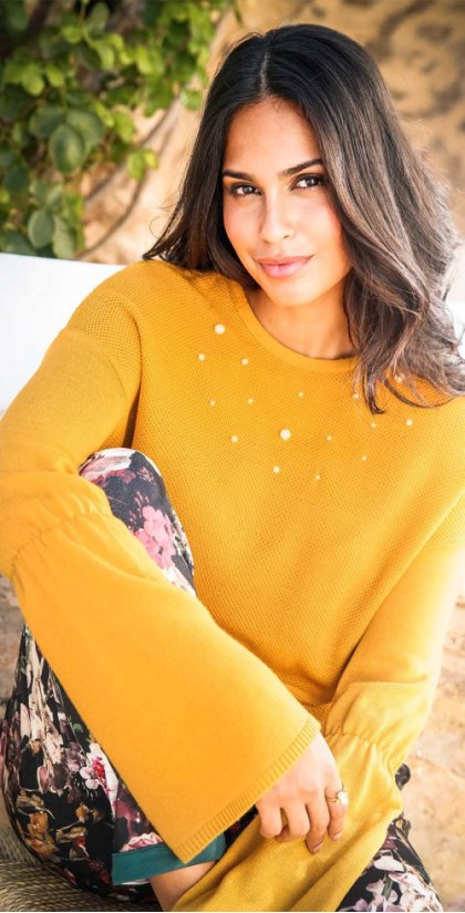 Donna - Pullover con perle - Curry