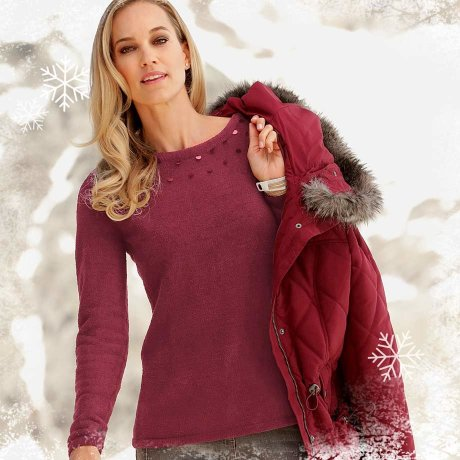 Donna - Pullover soffice - Rosso acero