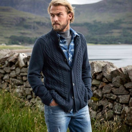 Uomo - Cardigan a trecce regular fit - Blu scuro