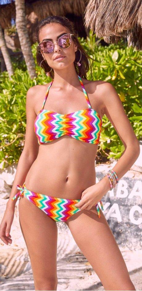 86490d3f5649 Donna - Bikini a fascia - Verde / bianco / giallo fantasia