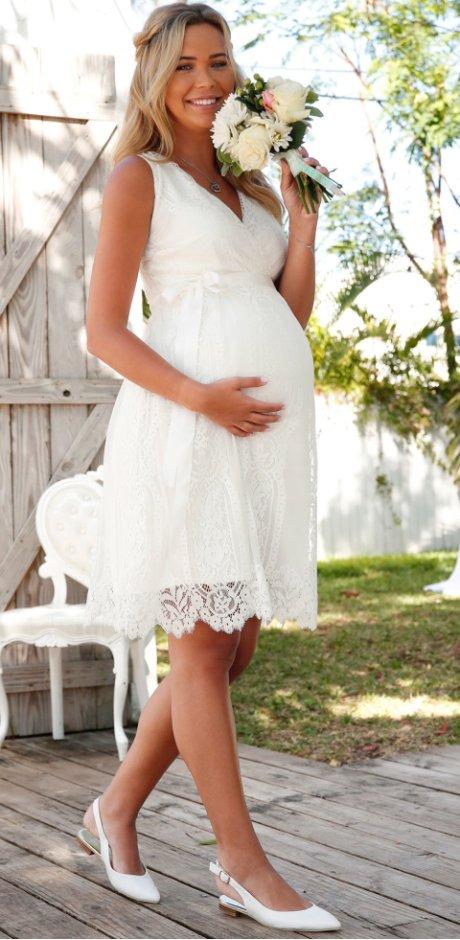 0433f45710a1 Donna - Abito da sposa   da cerimonia prémaman - Bianco panna