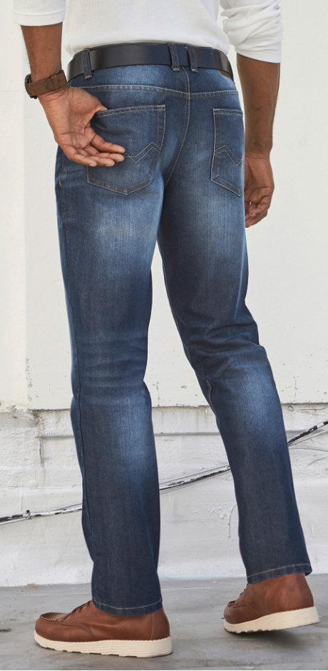 Uomo - Jeans regular fit straight - Blu scuro used