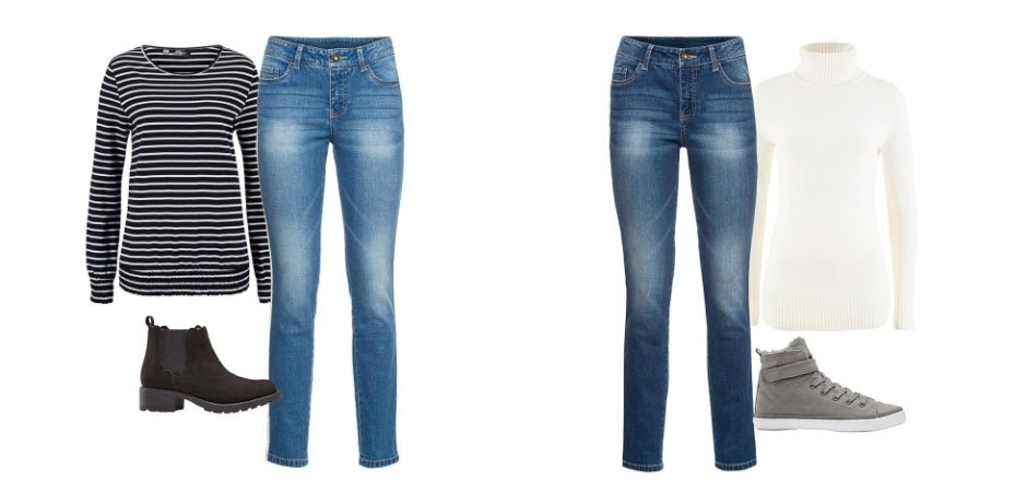 Donna - Jeans skinny con bande laterali - Blu bleached