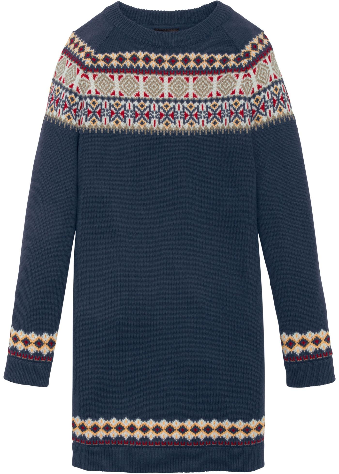Abito in maglia con motivi norvegesi (Blu) - bpc bonprix collection