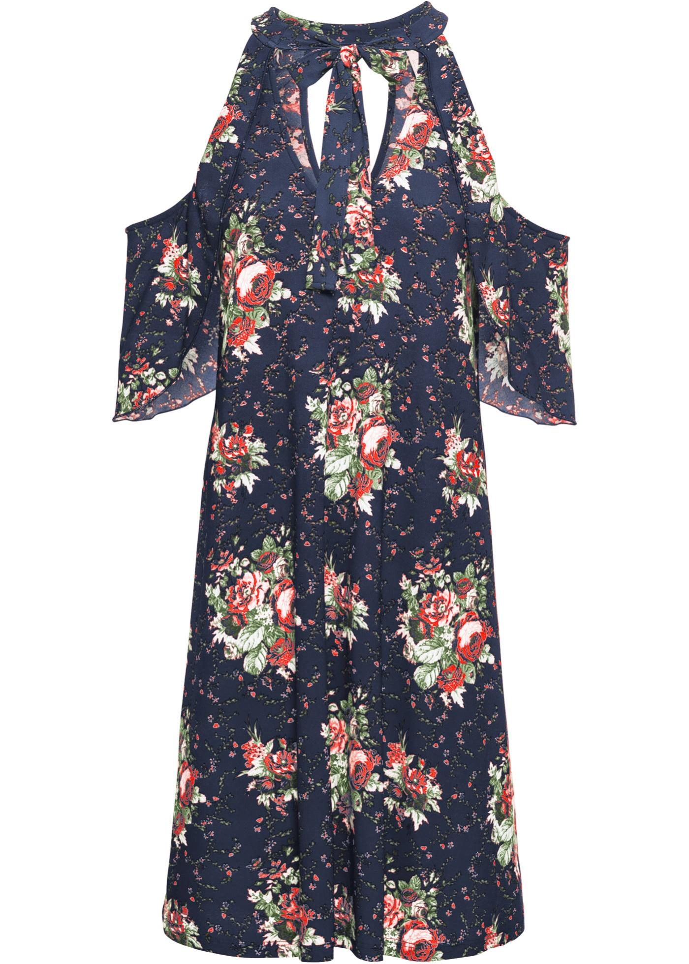 Abito a fiori con fiocco (Blu) - BODYFLIRT boutique