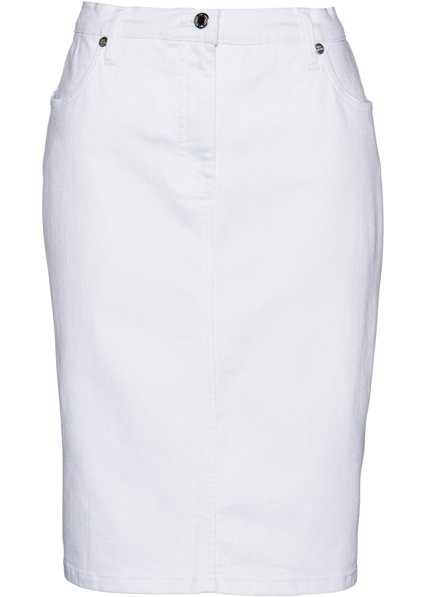Gonna di jeans con bande glitterate (Bianco) - bpc selection