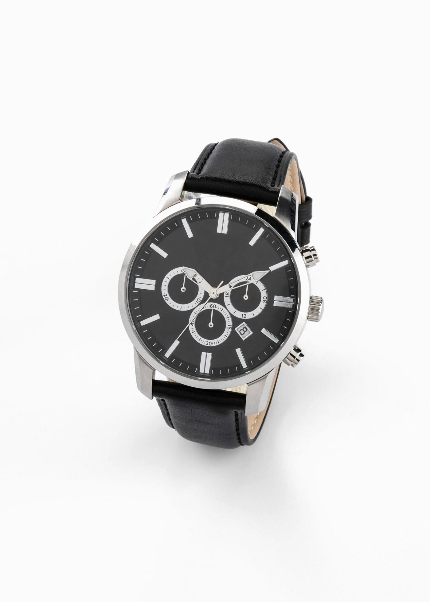 Cronografo con cinturino in pelle (Nero) - bpc bonprix collection