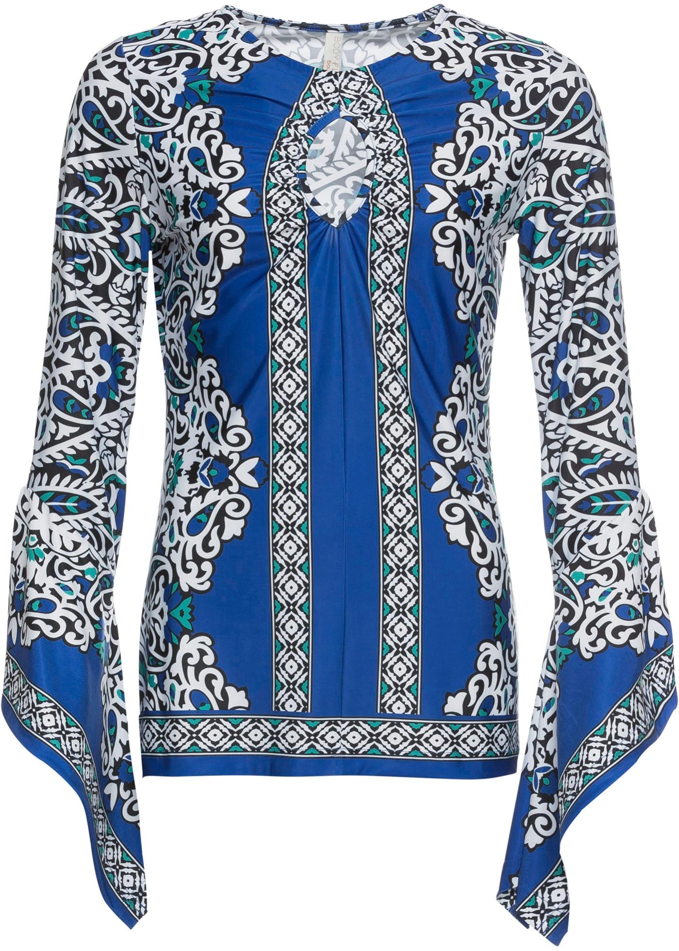 Maglia con maniche lunghe a volant (Blu) - BODYFLIRT boutique