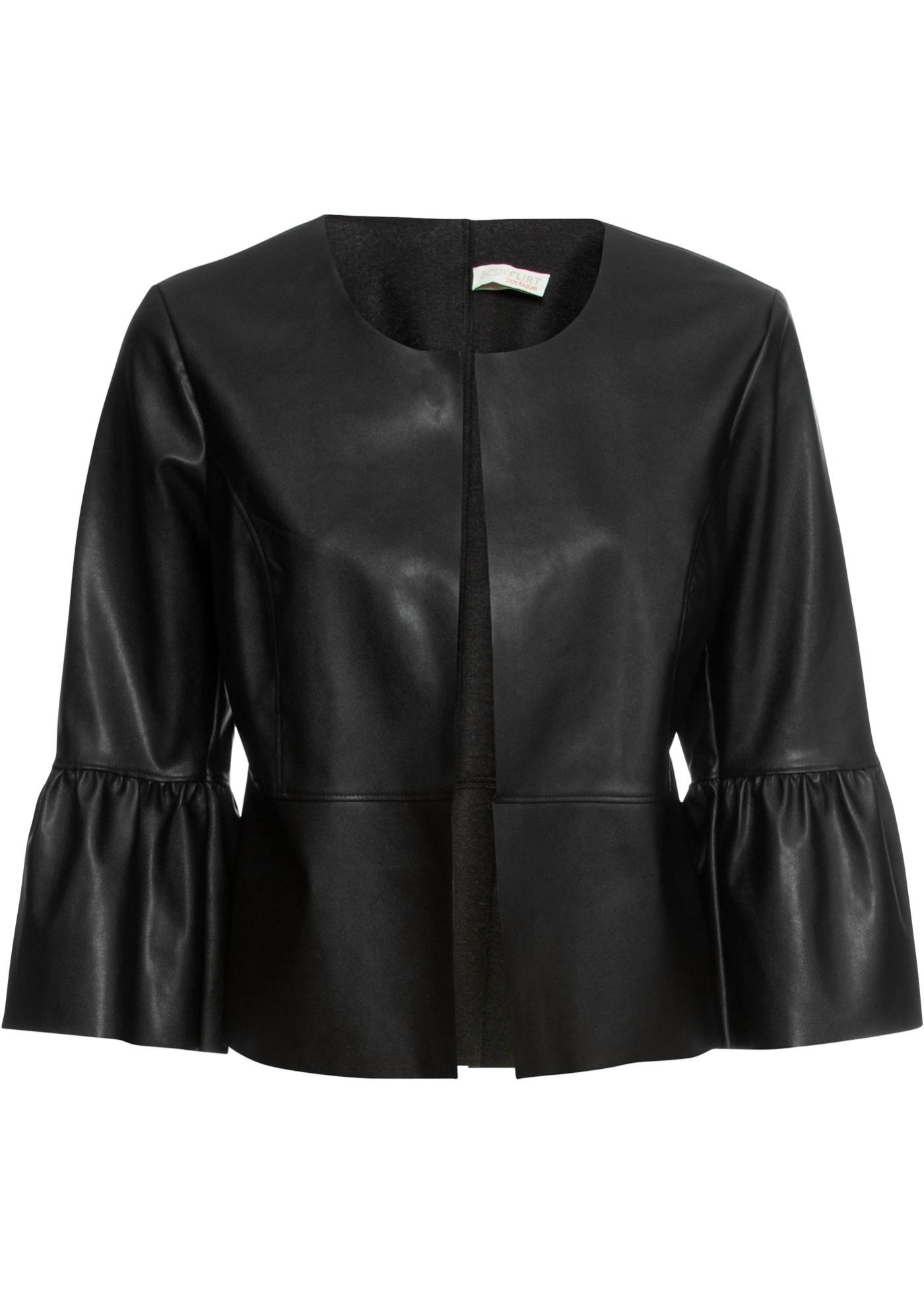 Blazer corto in similpelle (Nero) - BODYFLIRT boutique