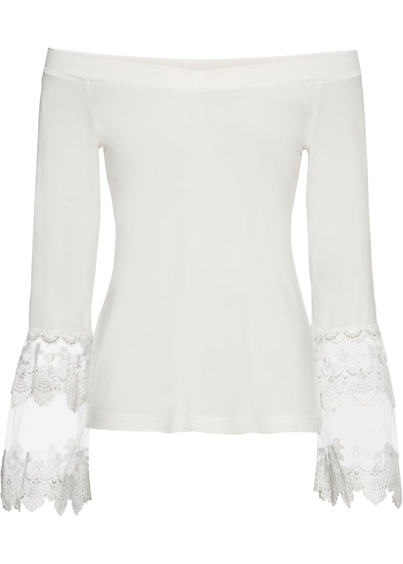 Maglia con spalle scoperte e pizzo (Bianco) - BODYFLIRT boutique