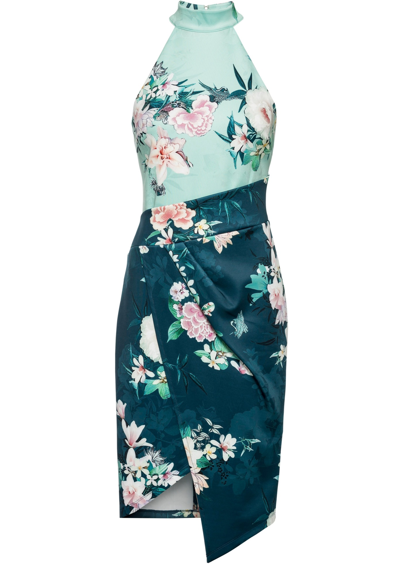 Abito a fiori con scollo all''americana (Blu) - BODYFLIRT boutique