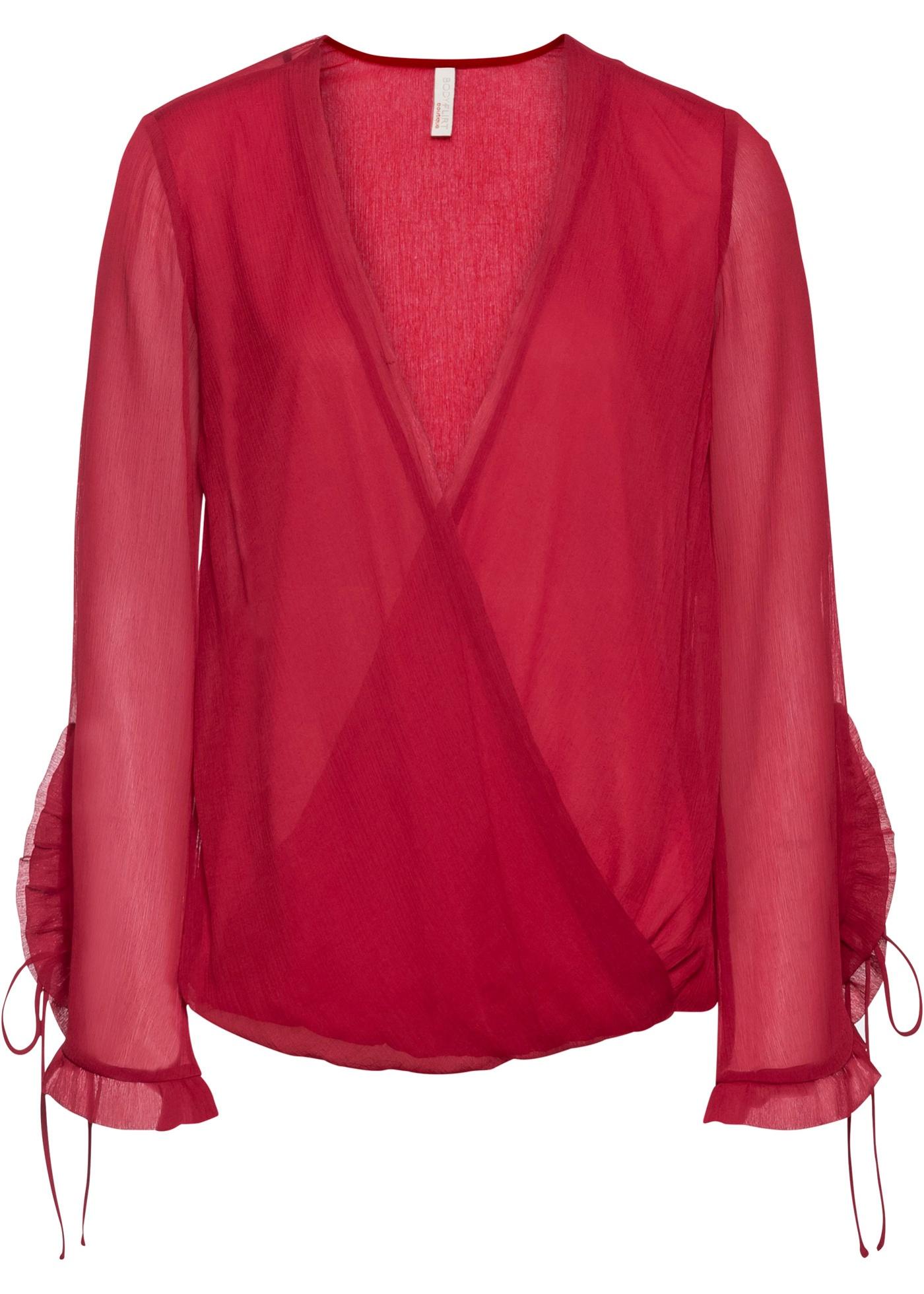 Blusa a portafoglio in chiffon (Rosso) - BODYFLIRT boutique