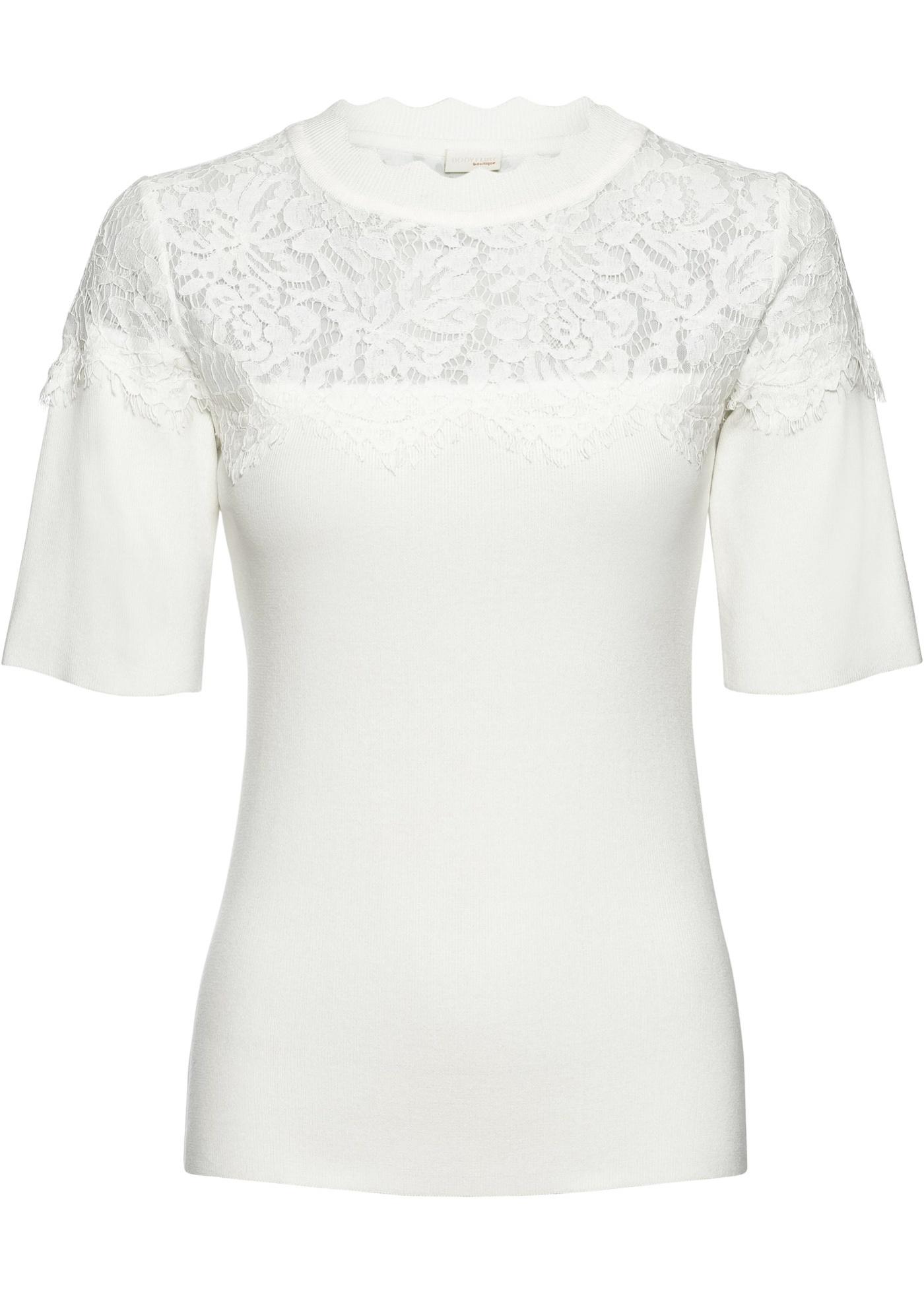 Maglia a costine con pizzo (Bianco) - BODYFLIRT boutique