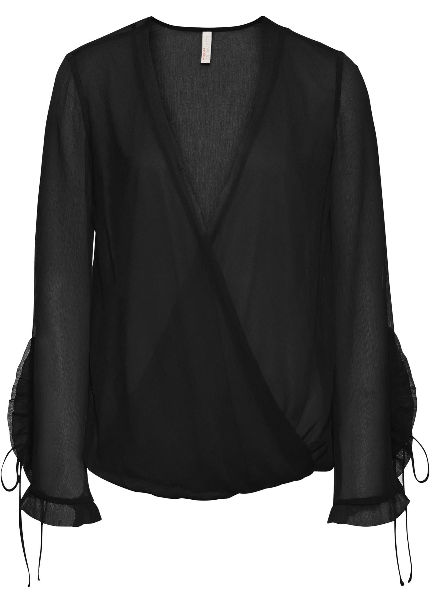 Blusa a portafoglio in chiffon (Nero) - BODYFLIRT boutique
