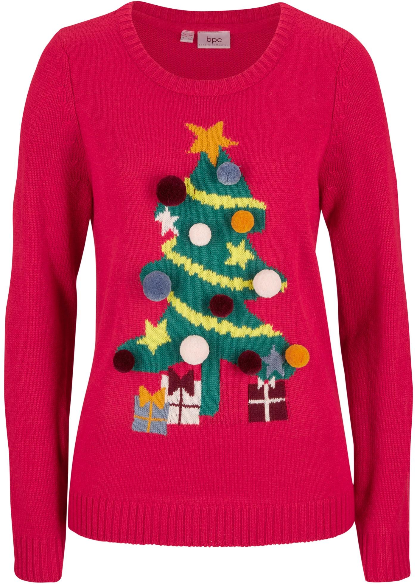 Maglione natalizio con albero di Natale (Rosso) - bpc bonprix collection