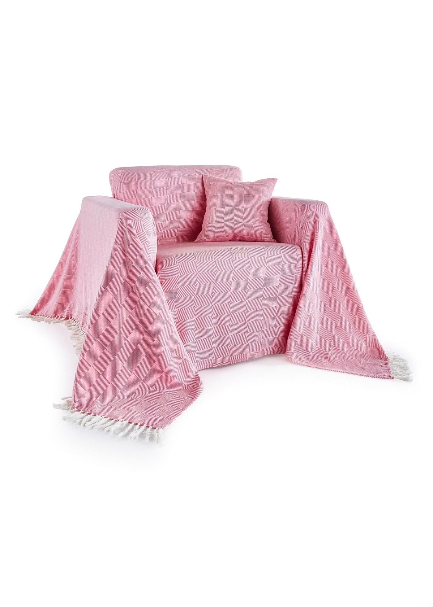 Telo copridivano con frange (rosa) - bpc living bonprix collection