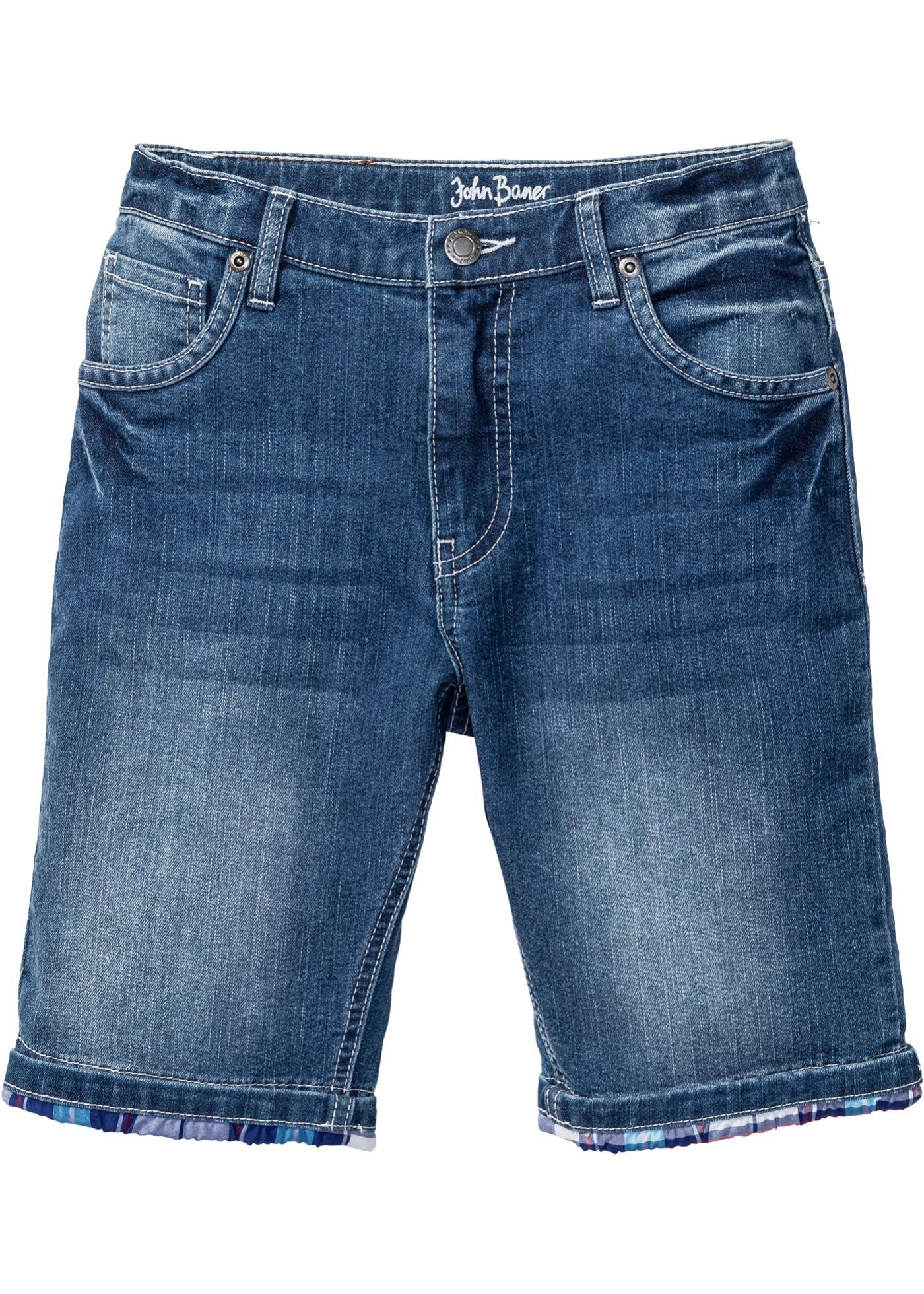 Bermuda di jeans con risvolto a quadri (Blu) - John Baner JEANSWEAR