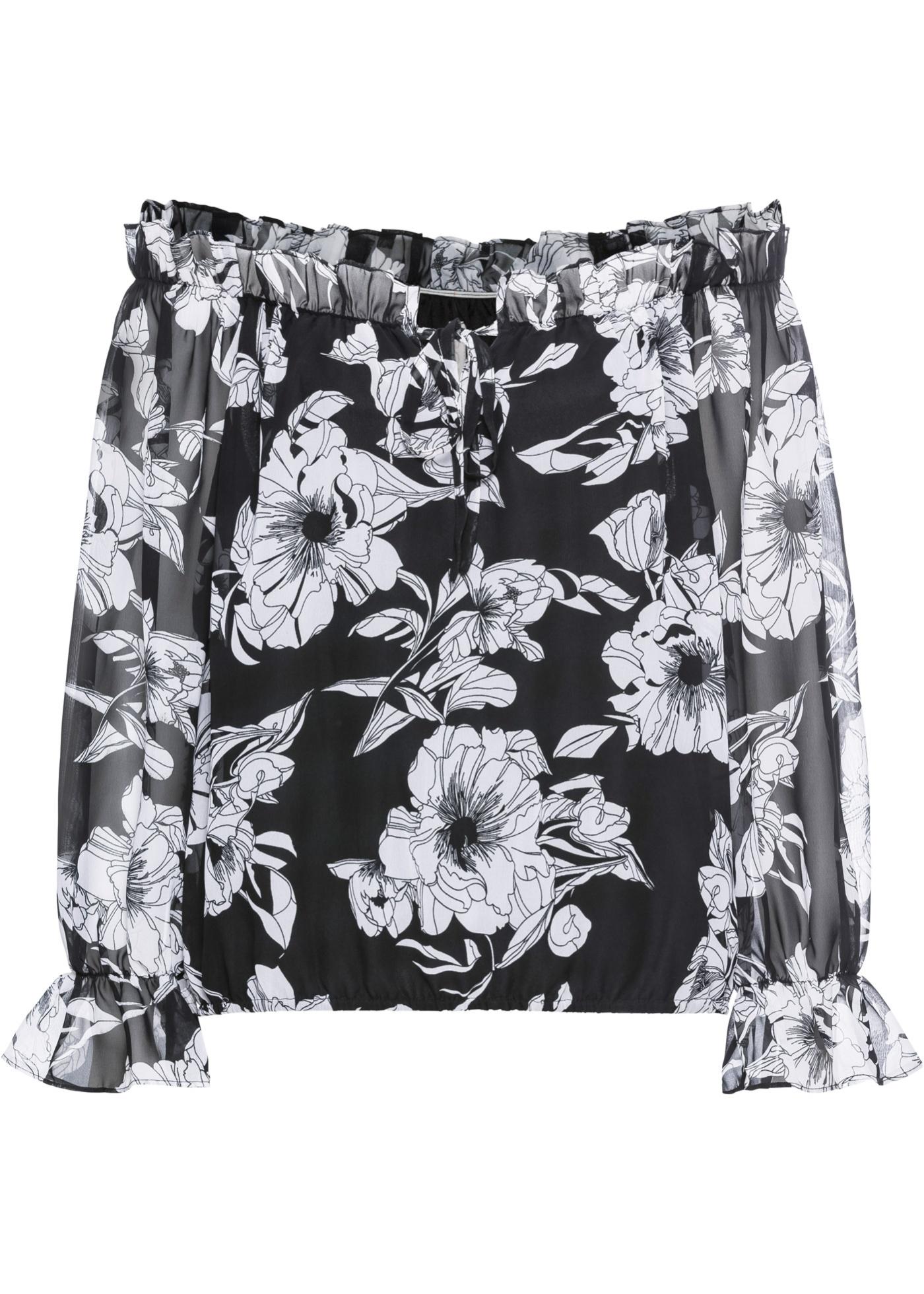 Blusa a fiori con scollo a barca (Nero) - BODYFLIRT boutique