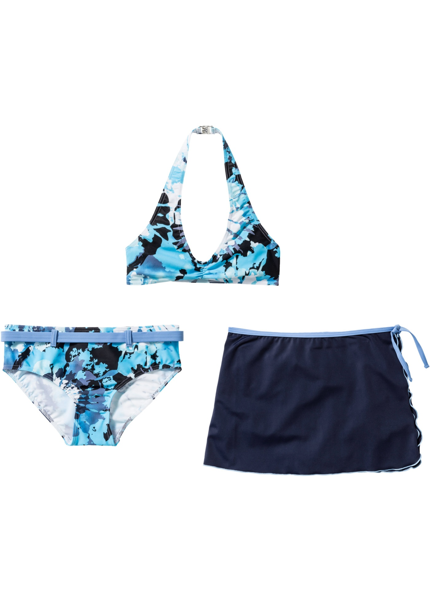 Bikini + gonna (set 3 pezzi) (Blu) - bpc bonprix collection