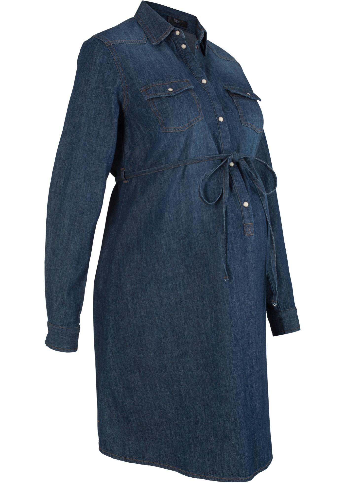 Abito di jeans in cotone prémaman e per l'allattamento (Blu) - bpc bonprix collection