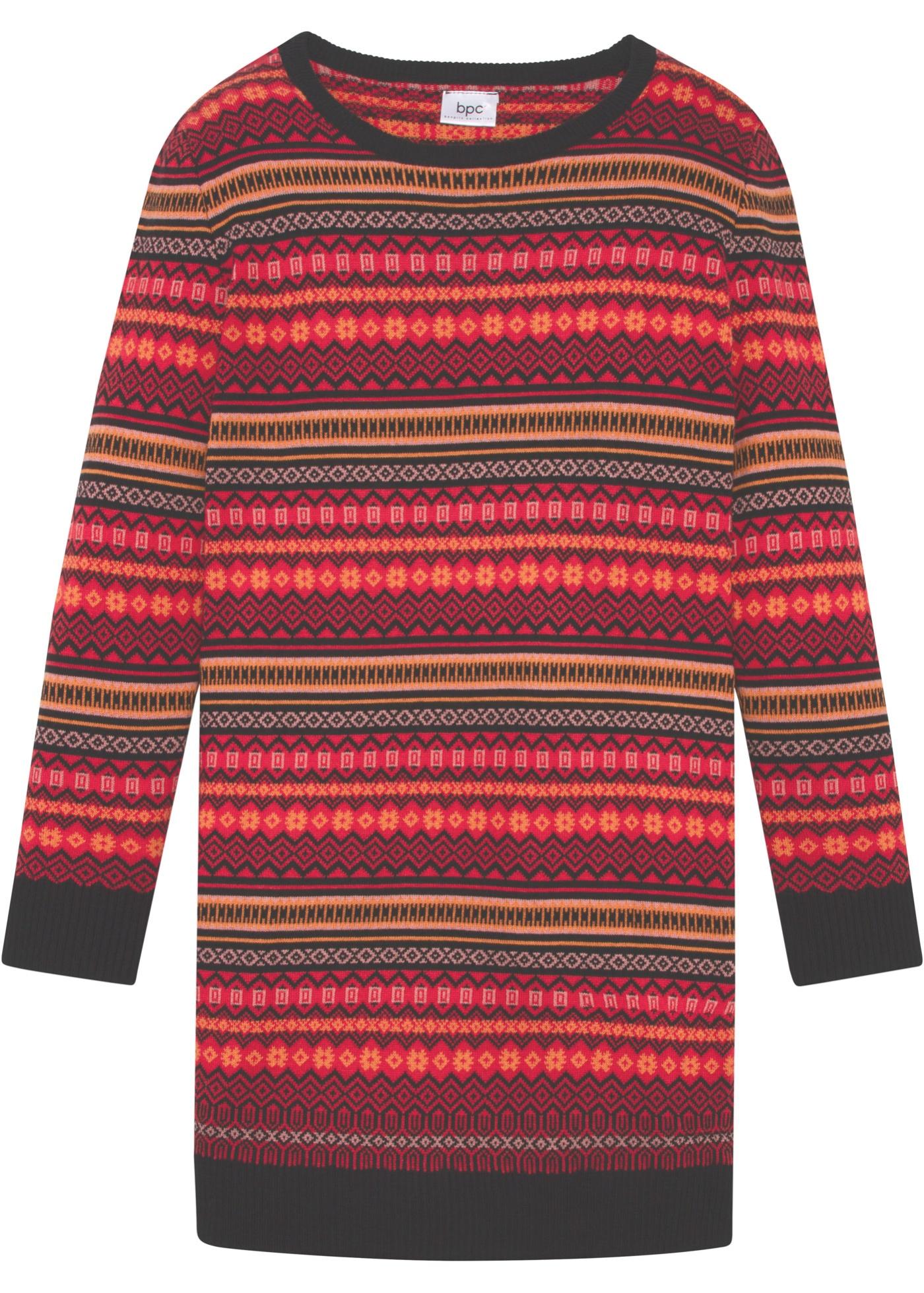 Abito in maglia con motivi norvegesi (Rosso) - bpc bonprix collection