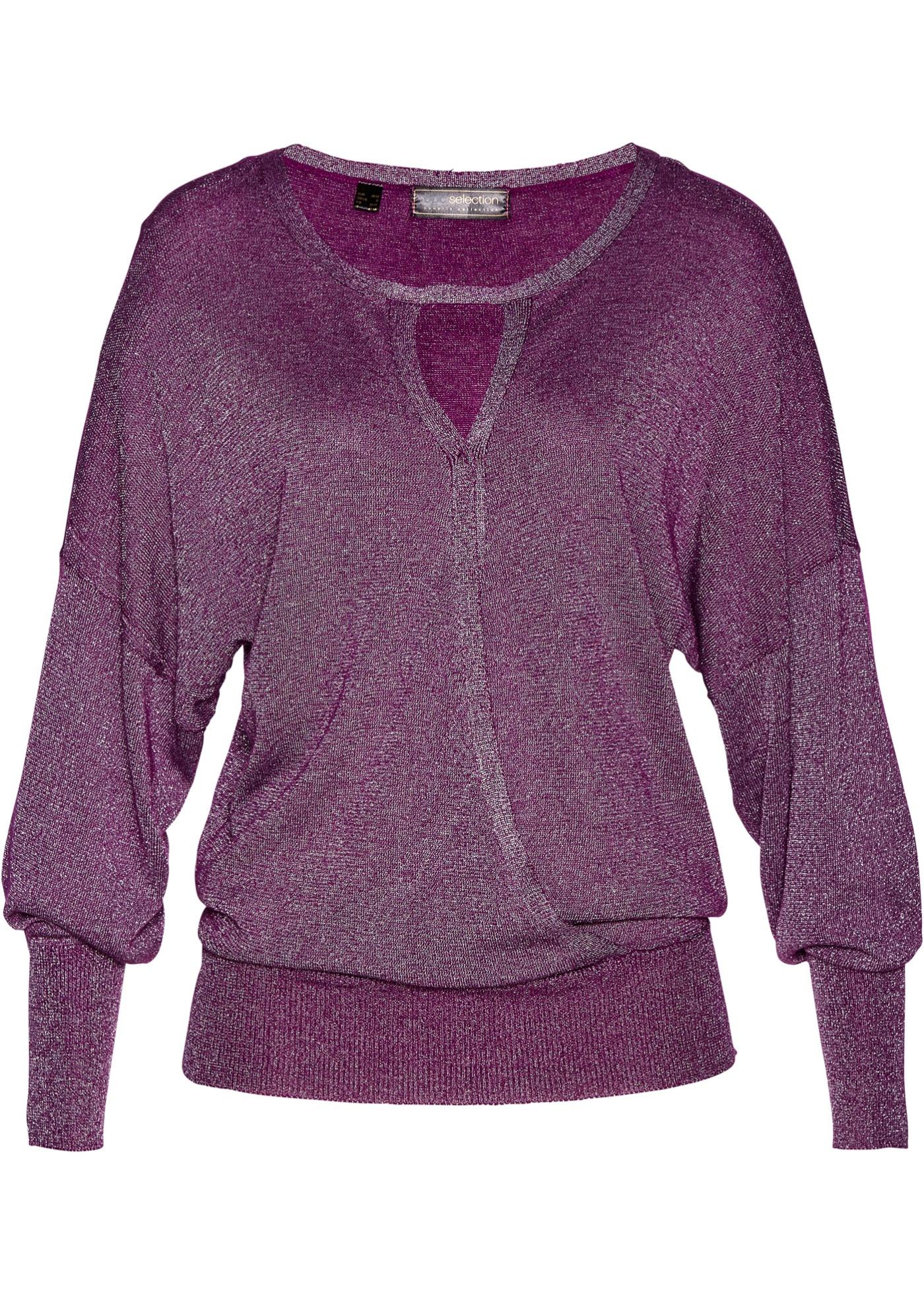 Pullover in lurex con maniche a pipistrello (viola) - bpc selection