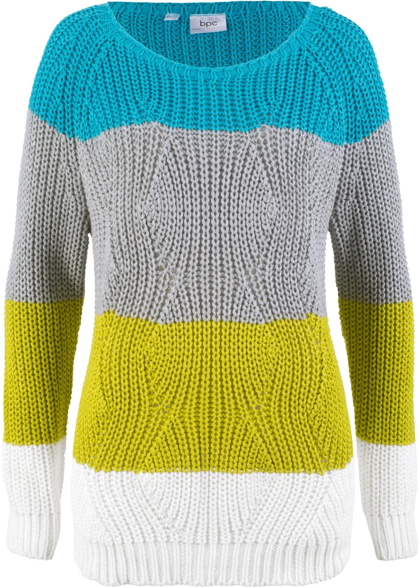 Pullover a fasce (Verde) - bpc bonprix collection