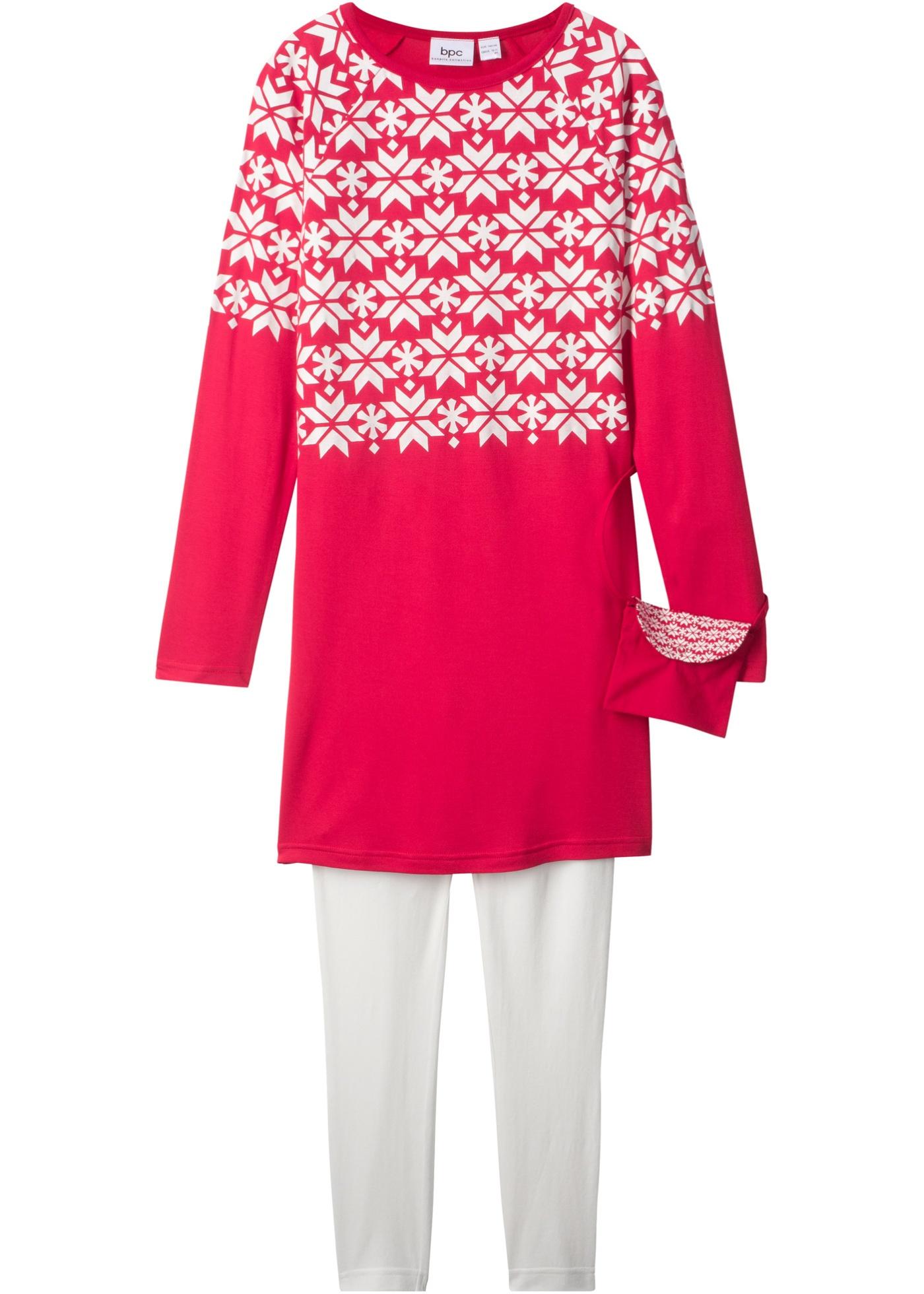 Abito a manica lunga + leggings + borsetta a tracolla (set 3 pezzi) (Rosso) - bpc bonprix collection