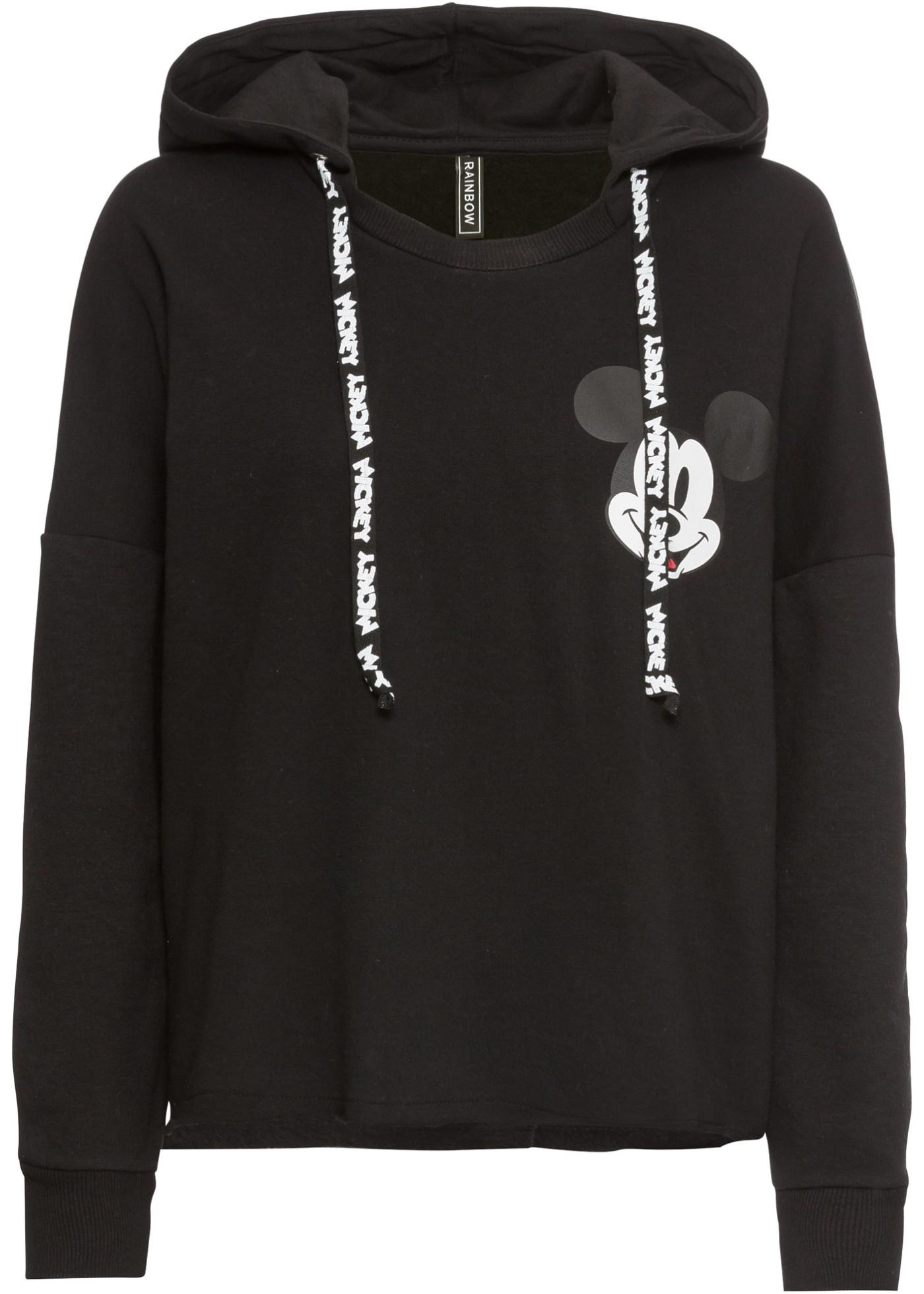 Felpa con cappuccio e stampa Mickey Mouse (Nero) - bonprix
