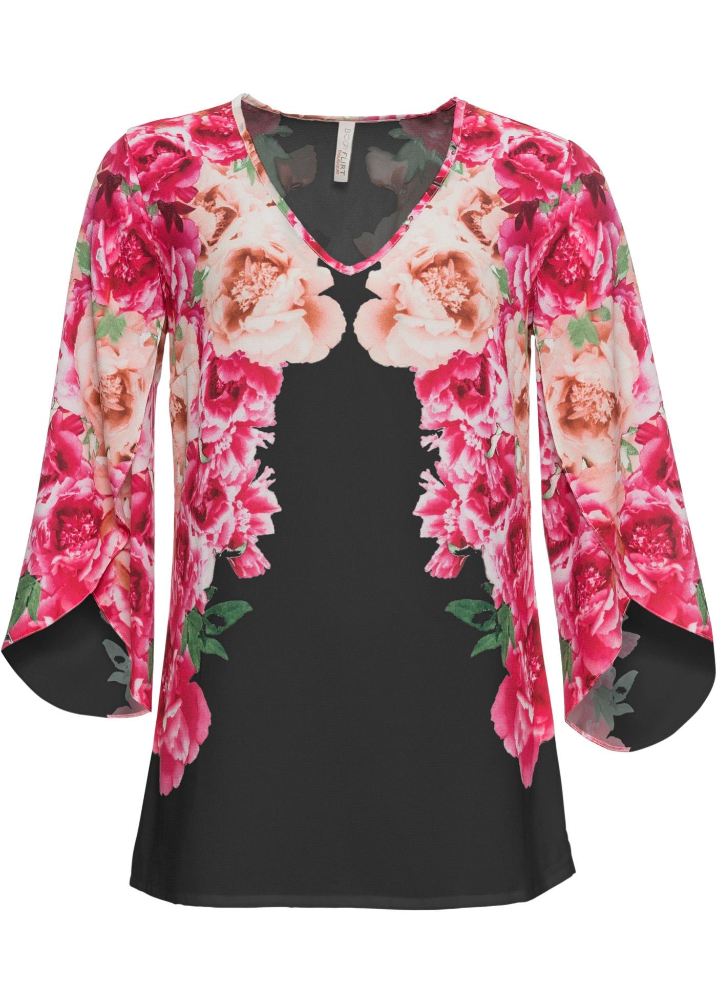 Blusa a fiori (Nero) - BODYFLIRT boutique