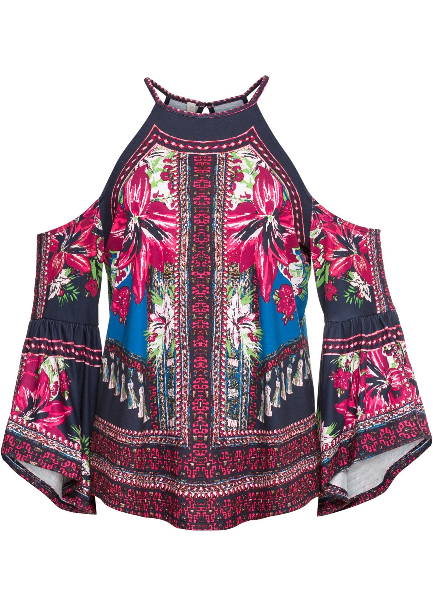 Blusa in maglina con spalle scoperte (Blu) - BODYFLIRT boutique