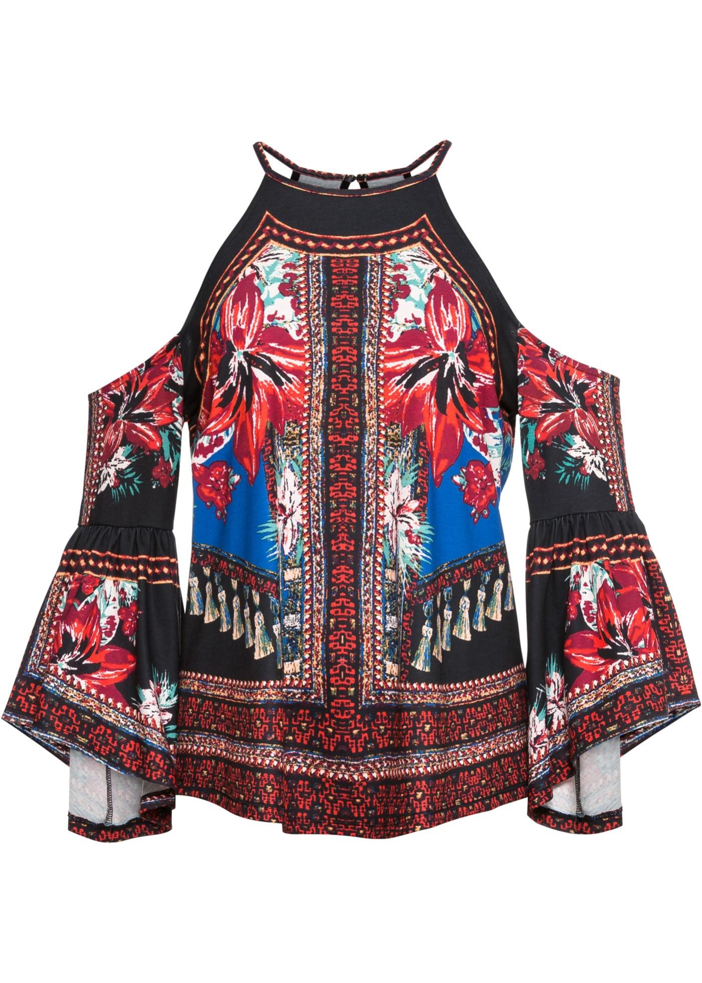 Blusa in maglina con spalle scoperte (Nero) - BODYFLIRT boutique