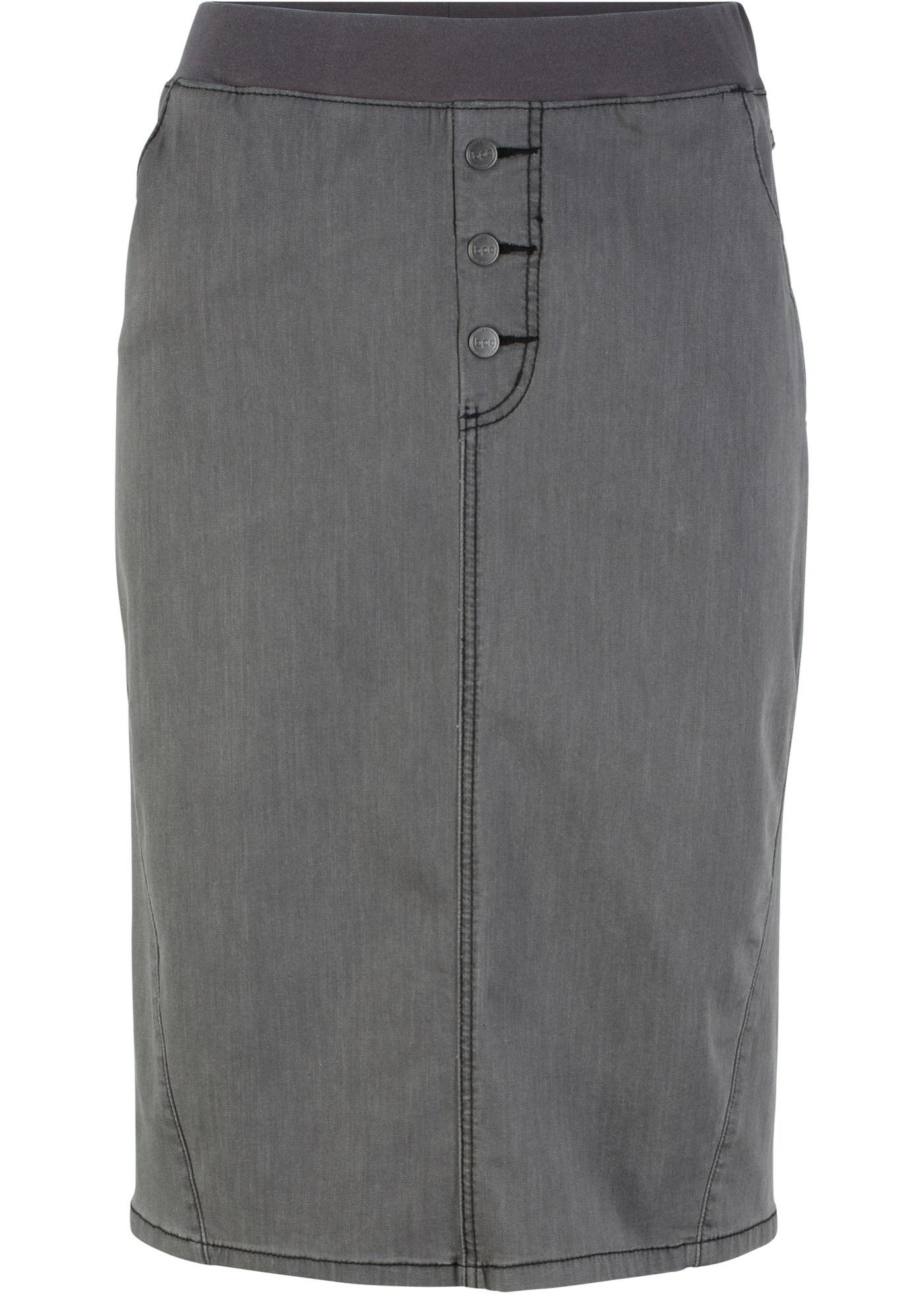 Gonna di jeans con cinta a costine (Grigio) - bpc bonprix collection