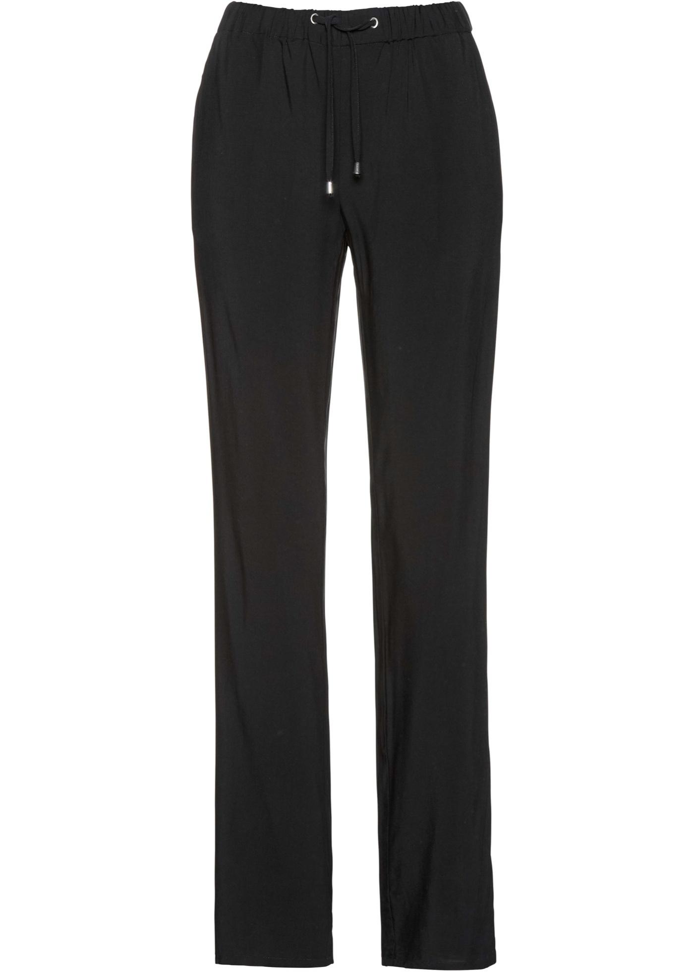 Pantaloni in viscosa fantasia con elastico (Nero) - bpc selection