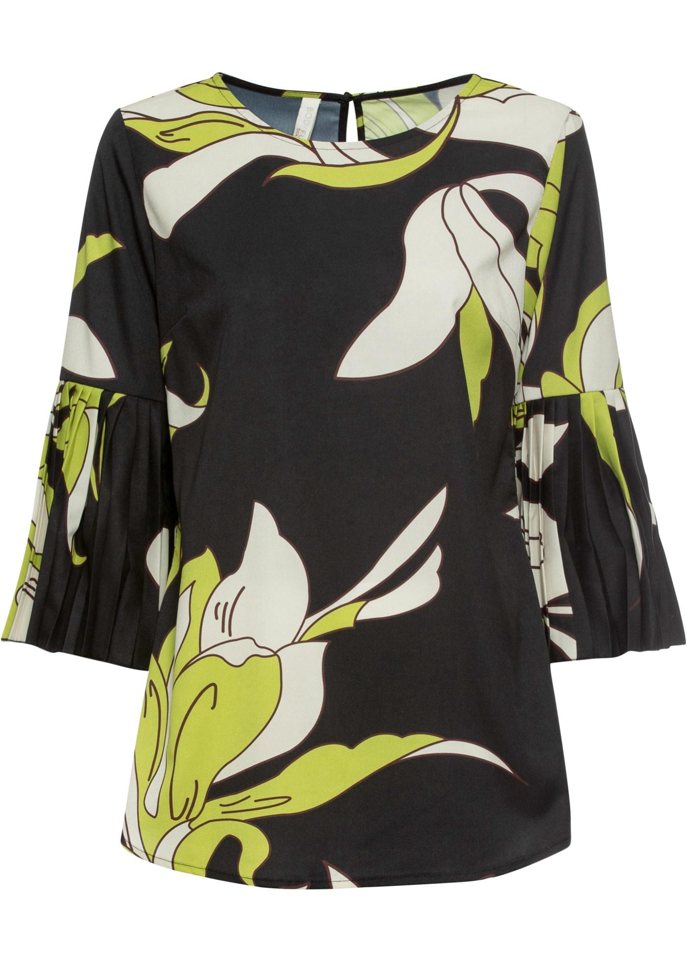 Blusa con maniche plissettate (Nero) - BODYFLIRT boutique