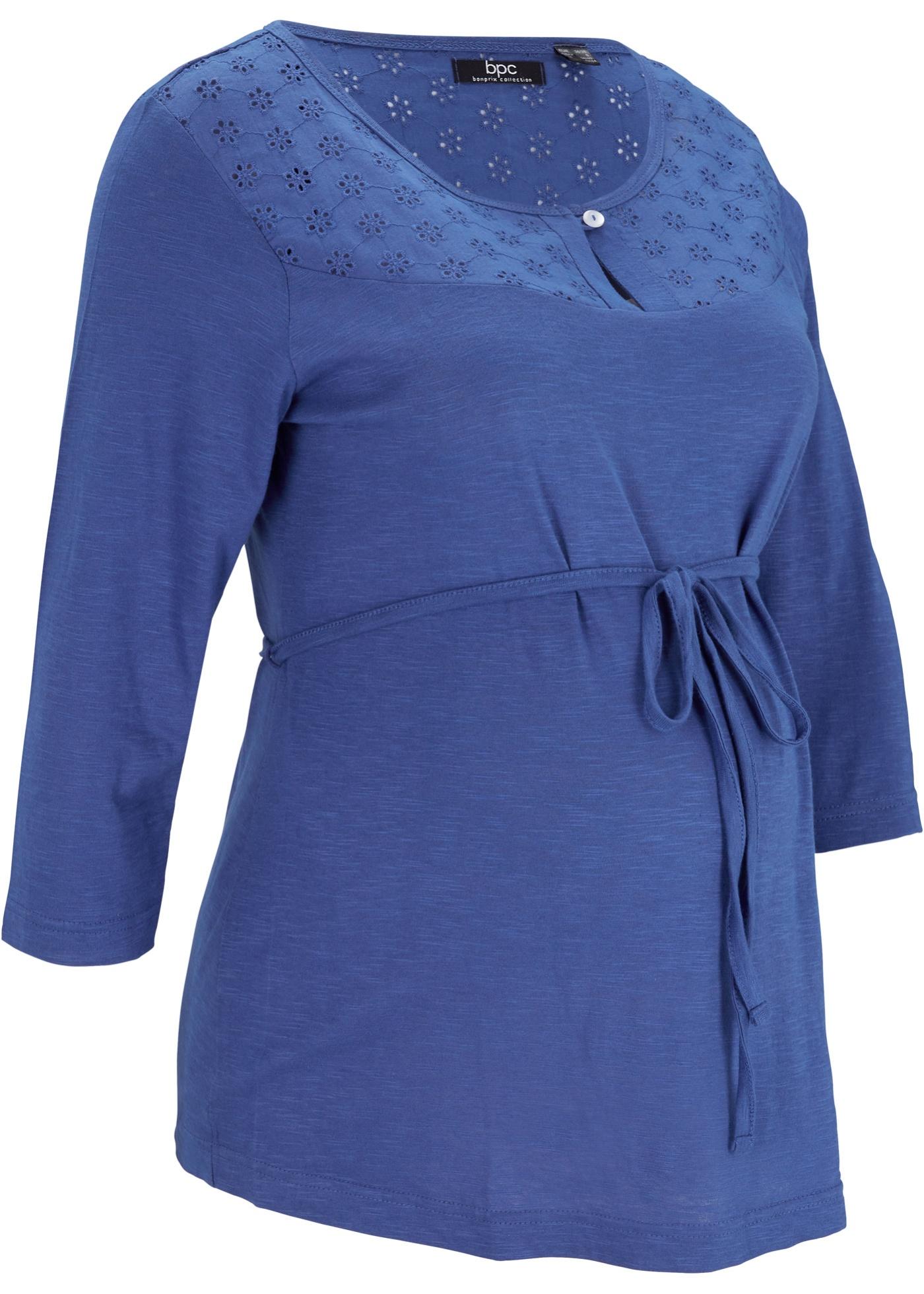 Maglia prémaman con ricamo traforato (Blu) - bpc bonprix collection