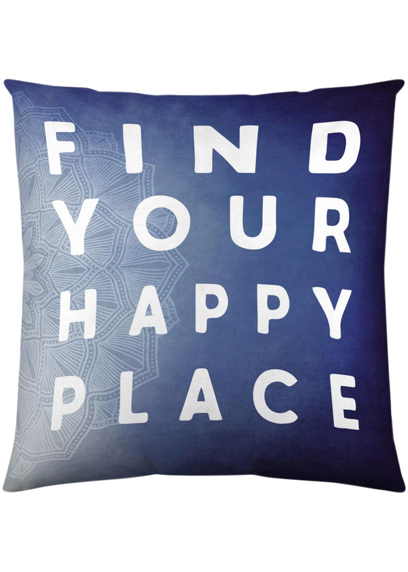 Copricuscino Scritta Happy Place (Blu) - Euronova