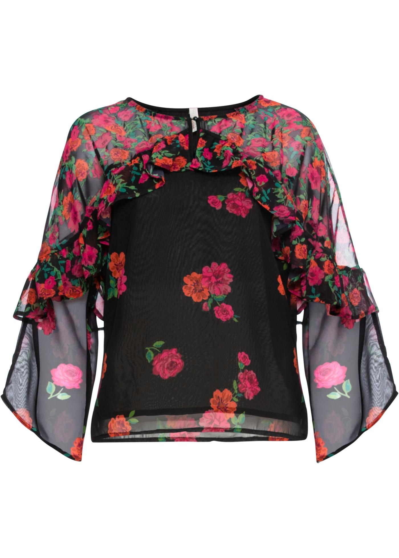 Blusa in chiffon con volant sulle maniche (Nero) - BODYFLIRT boutique
