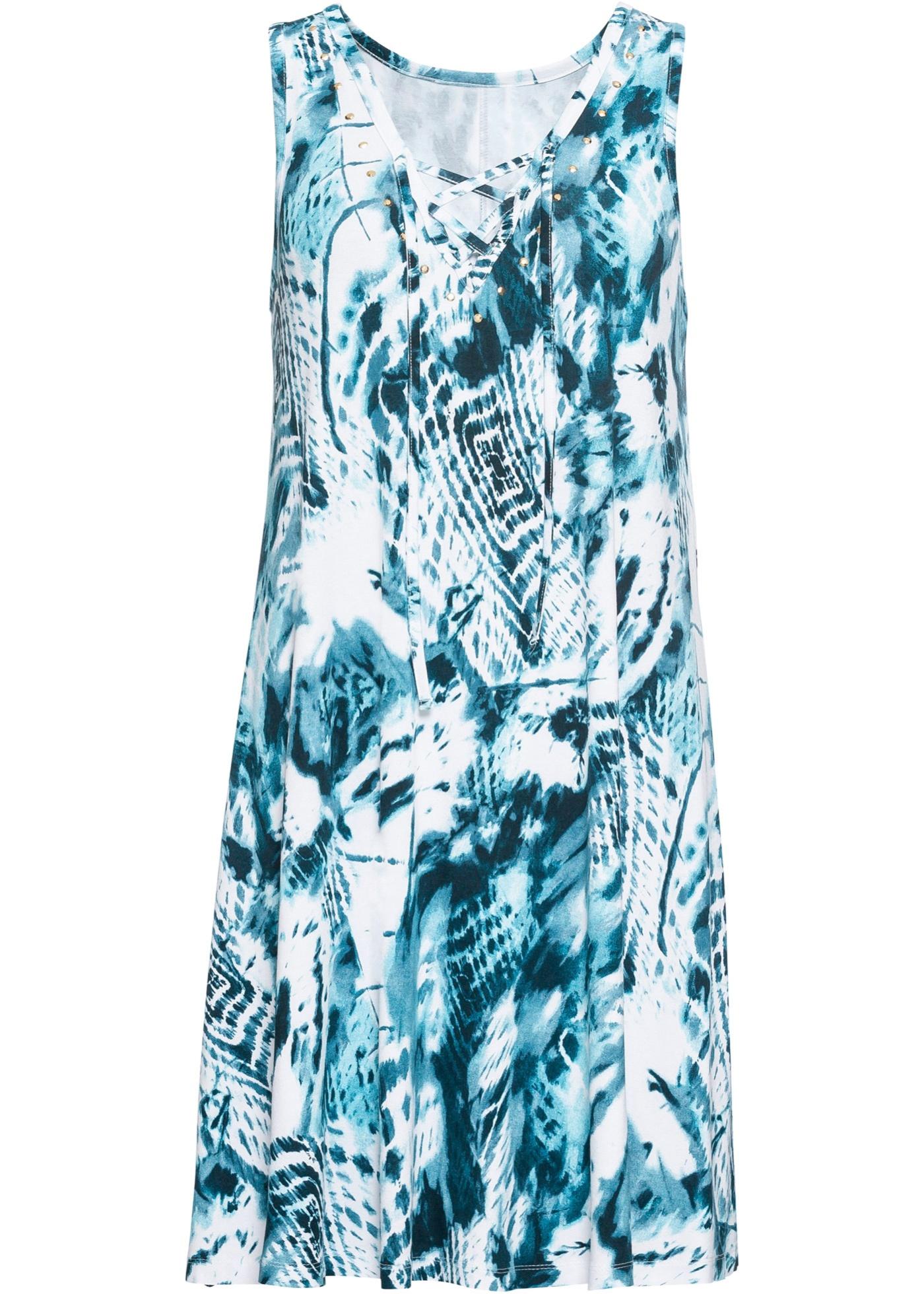 Abito batik con stringatura (Blu) - BODYFLIRT